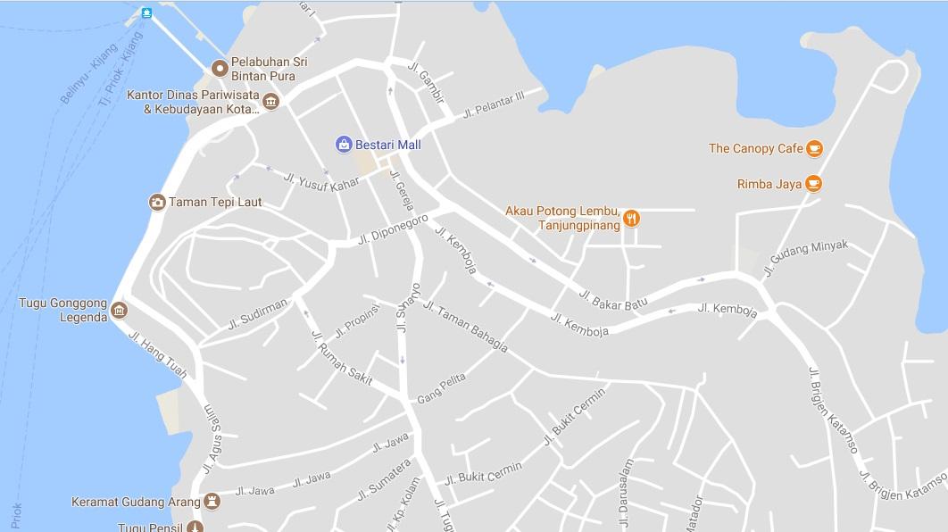 Peta Jalan Tanjung Pinang Terlengkap Info Bintan Nama Diambil Pulau