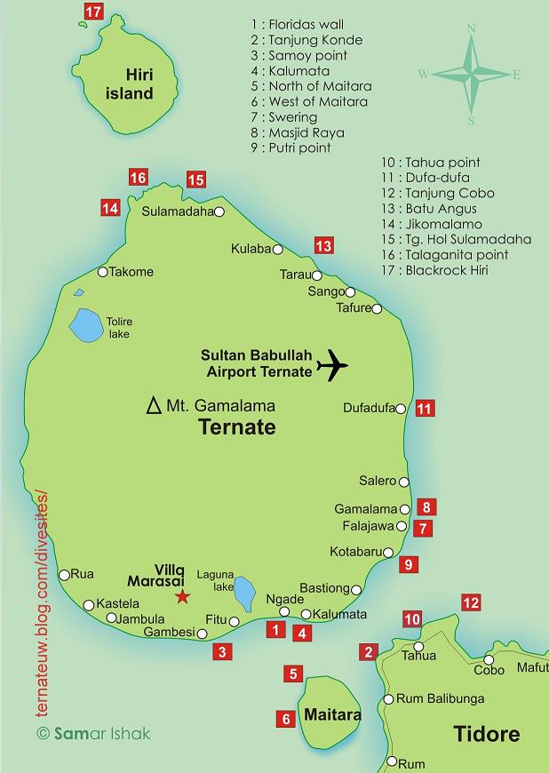 Indonesia Tourism 14 Places Visit Ternate North Peta Diving Pulau