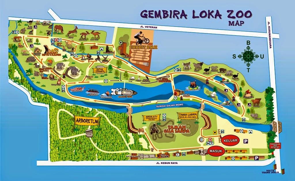 Gembiraloka Kebun Binatang Kota Yogyakarta Tempat Tujuan Wisata Denah Bonbin
