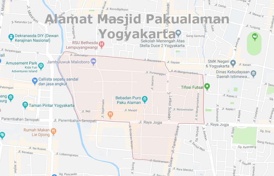 Alamat Masjid Pakualaman Yogyakarta Jogja Besar Kota