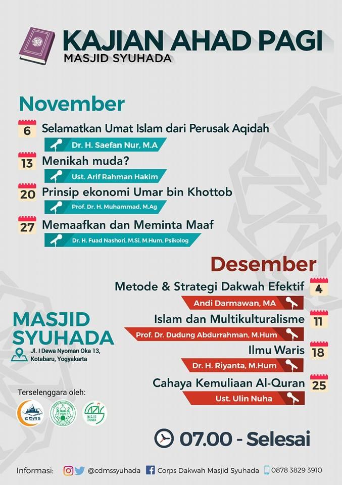 Kajian Ahad Pagi Masjid Syuhada Jogja Kota Yogyakarta