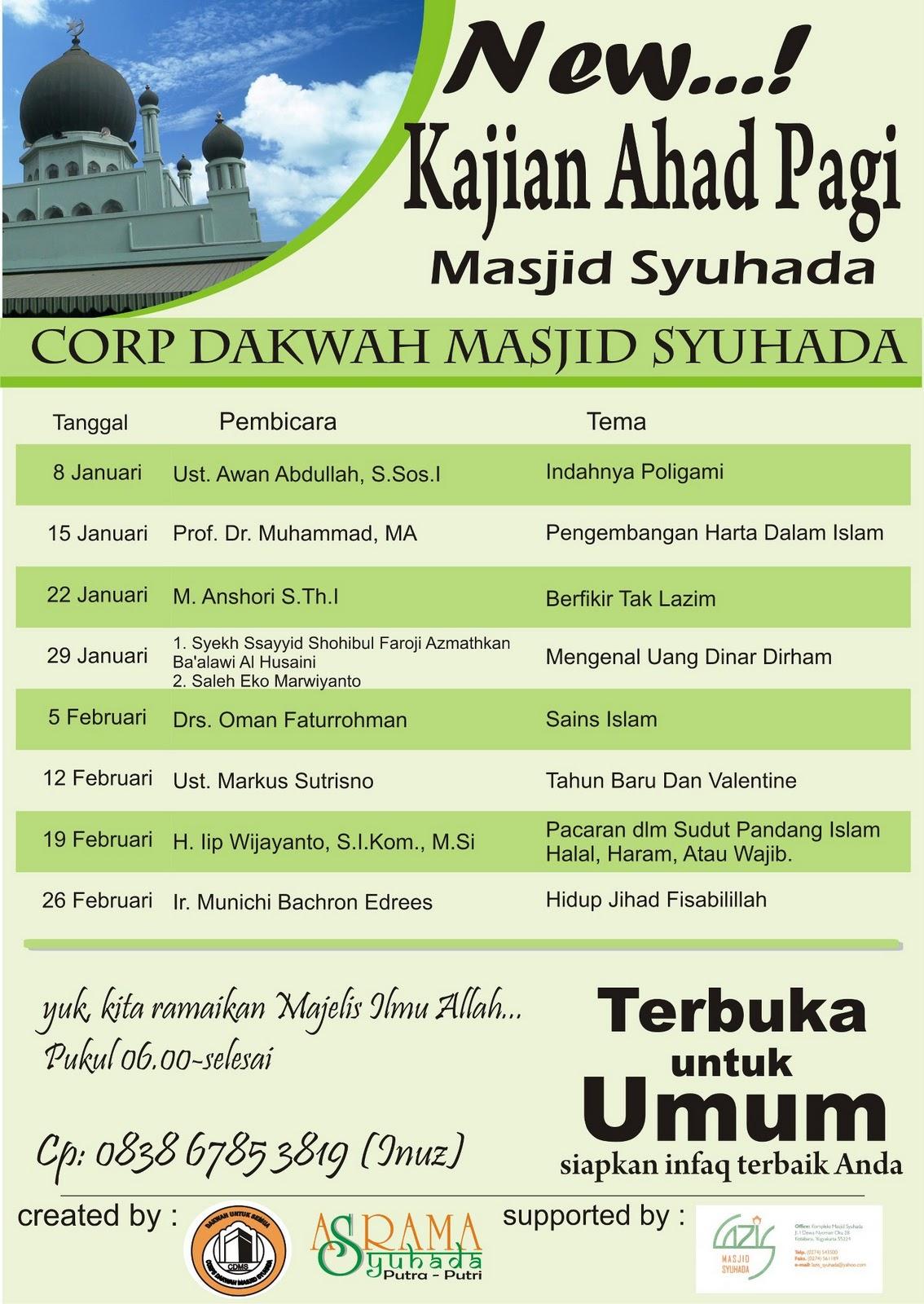 Perdana 2012 Kajian Ahad Pagi Masjid Syuhada Bulletin Kota Yogyakarta